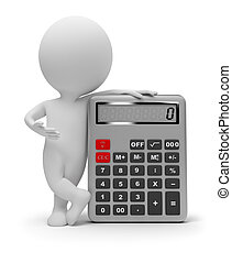 petit, calculatrice, 3d, -, gens