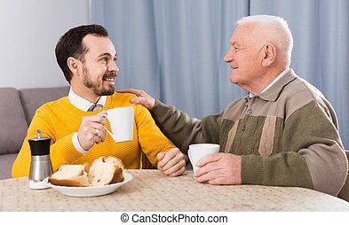 petit déjeuner, fils, père, personnes agées