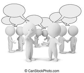 petit, discussion, 3d, -, gens