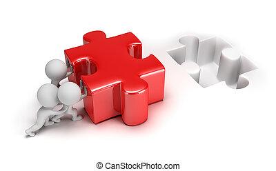 petit, puzzle, pousser, 3d, gens