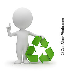 petit, symbole, recyclage, 3d, gens