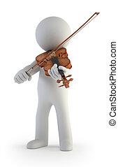 petit, violon, 3d, -, gens