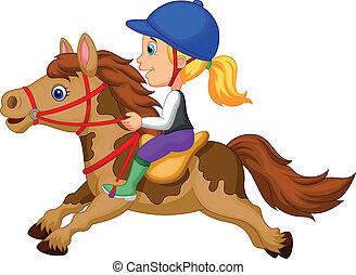 peu, équitation, girl, poney, dessin animé, h