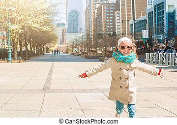 peu, adorable, girl, nouveau, ville, york