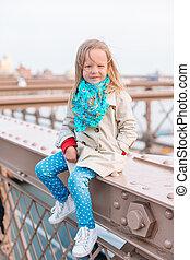 peu, adorable, pont brooklyn, girl, nouveau, séance, york
