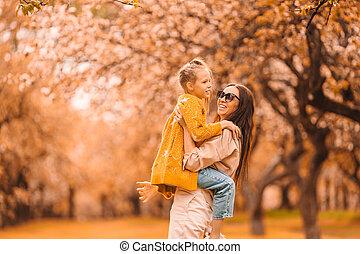 peu, maman, jour, parc, dehors, girl, automne
