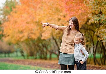 peu, parc, automne, maman, dehors, girl, jour