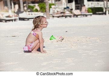 peu, plage, maillot de bain, exotique, girl, adorable, carribean