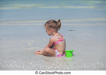 peu, plage, maillot de bain, exotique, girl, adorable, jouer
