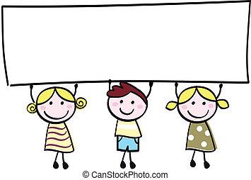 peu, tenue, bannière, heureux, vide, mignon, -, garçon, filles, vide, dessin animé, illustration.