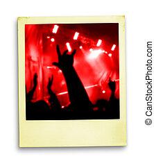 photo:, ventilateurs, polaroid, foule