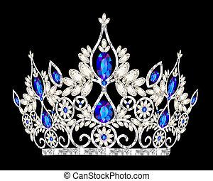 pierre, bleu, diadème, mariage, femmes, couronne