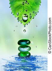 pierres, feuille, eau, éclaboussure, équilibrage, spa, gouttes, brillant