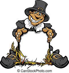 pigrim, thanksgiving, signe, vecteur, tenue, dessin animé, vacances, image, heureux