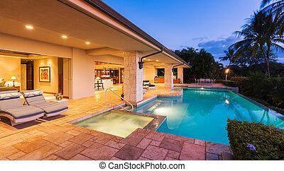 piscine, luxe, coucher soleil, maison