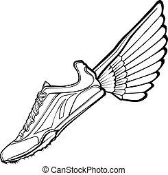 piste, illustr, vecteur, chaussure, aile