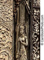 place., public, ange, cambodge