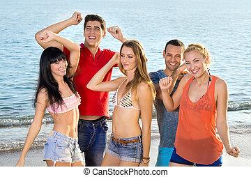 plage, été, apprécier, amis, jeune