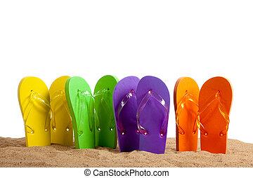 plage, coloré, flip-flop, sandles, sablonneux
