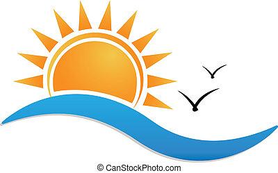 plage coucher soleil, logo