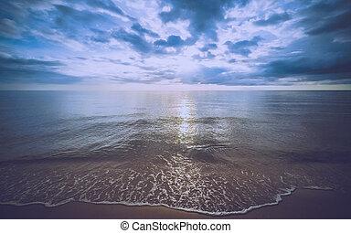 plage, coucher soleil, mer, temps, koh chang, thaïlande, vague