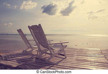 plage, filtre, revêtement, chaise, bois, marine, vendange, effet, blanc
