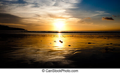 plage, jimbaran, coucher soleil