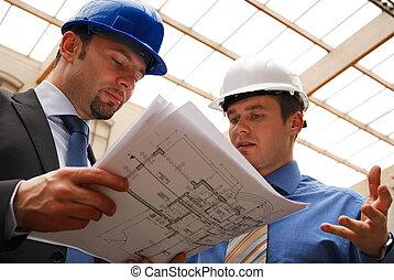plan, réexaminer, architectes