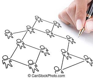 plan, réseau, social
