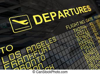 planche, international, départs, aéroport
