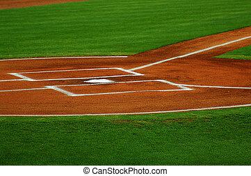 plaque, jeu, base-ball, maison, classé, avant
