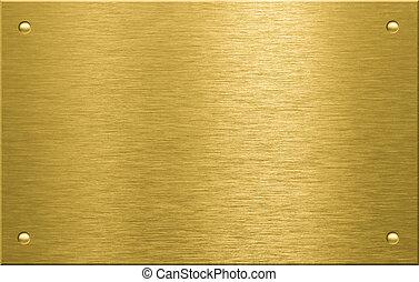 plaque, métal, ou, quatre, laiton, rivets, bronze