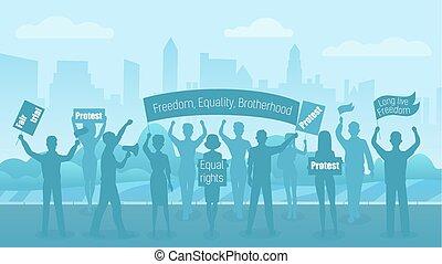 plat, silhouette, illustration., foule, gens, civil, révolution, protesters., vecteur, rue., protestation, démonstration, ville, conflit