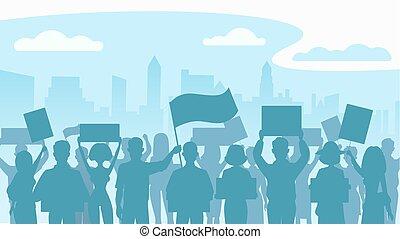 plat, silhouette, illustration., foule, gens, protesters., vecteur, city., protestation, révolution, conflit