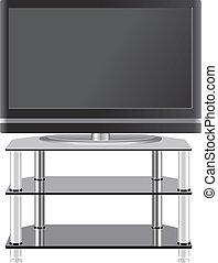 plat, tã©lã©viseur, tv, moderne, stand, panneau
