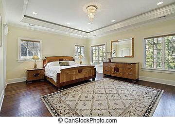 plateau, plafond, maître, chambre à coucher