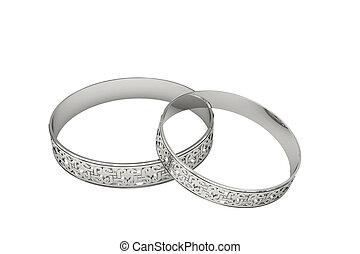 platine, magie, anneaux, tracery, mariage, ou, argent