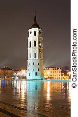 pluvieux, cloche, lituanie, cathédrale, tour, europe., vilnius, night.