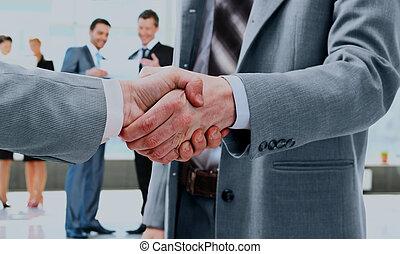 poignée main, gens., business