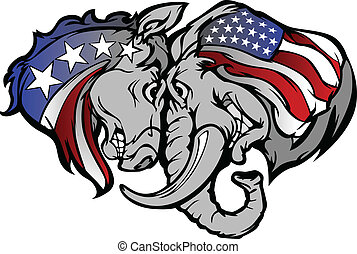 politique, âne, carto, éléphant