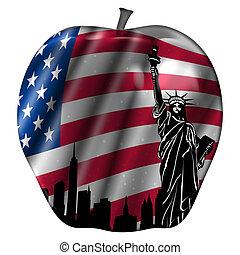 pomme, usa, grand, drapeau, horizon, york, nouveau