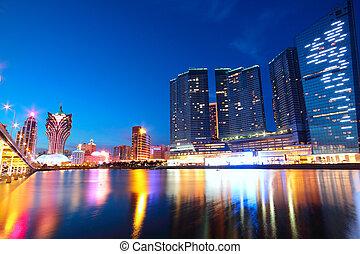 pont, asia., macao, gratte-ciel, cityscape, macau