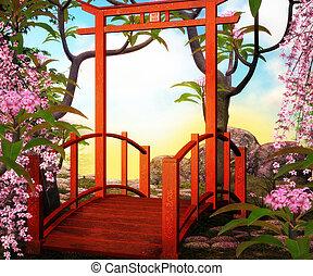 pont, asiatique, toile de fond
