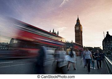 pont, ben, grand, westminster, trafic, fond