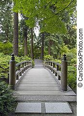 pont, bois, japonais jardin