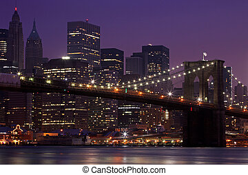 pont, brooklyn, horizon, nuit, nyc, manhattan