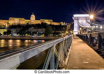 pont, budapest, chaîne, buda, nuit, château
