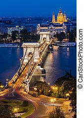 pont, budapest, danube, nuit, chaîne