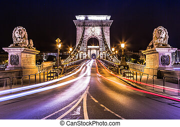 pont, budapest, lanchid)., (hungarian:, chaîne, ville, paysage, rue, szechenyi, nuit, hongrie, urbain