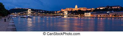 pont, budapest, palais, repère, chaîne, royal, sur, buda, gellert, rivière, panoramique, szechenyi, colline, nuit, cityscape, hongrie, baroque, danube, crépuscule, château